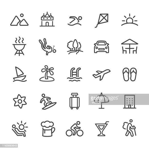 urlaubs- und sommer-ikonen - smart line serie - freizeitaktivität stock-grafiken, -clipart, -cartoons und -symbole