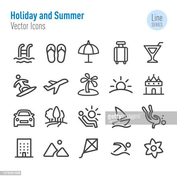 holiday and summer icons - vector line series - diving stock illustrations