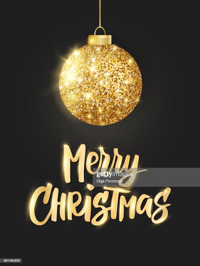 Frohe Weihnachten Glitzer.Urlaubhintergrund Hängende Goldene Weihnachtskugel Auf Schwarz