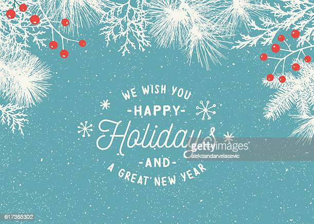 ilustraciones, imágenes clip art, dibujos animados e iconos de stock de holiday background with evergreen branches - tarjeta de felicitación