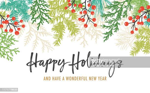 holiday background with greetings - branch plant part stock illustrations