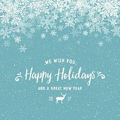 Holiday Background with Layered Snowflake Border