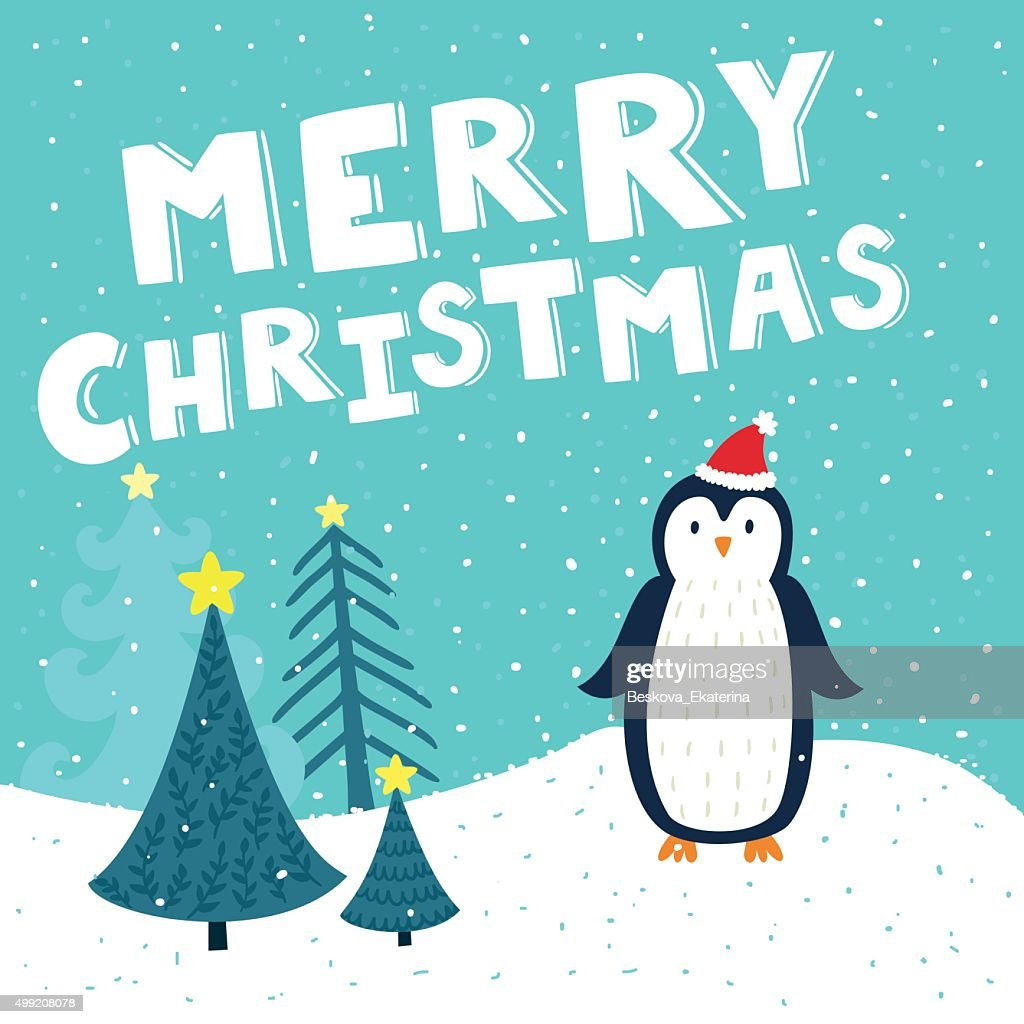 Holiday background with penguin and text 'Merry Christmas'.