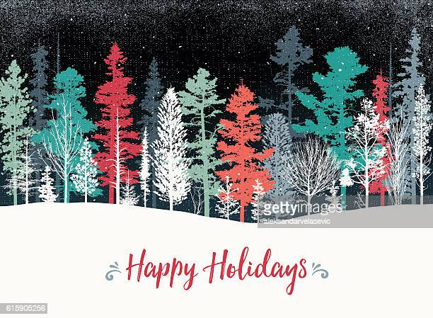 Holiday background with pine trees