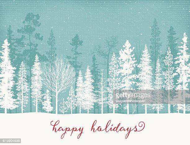 Holiday Background with Snow Covered Trees