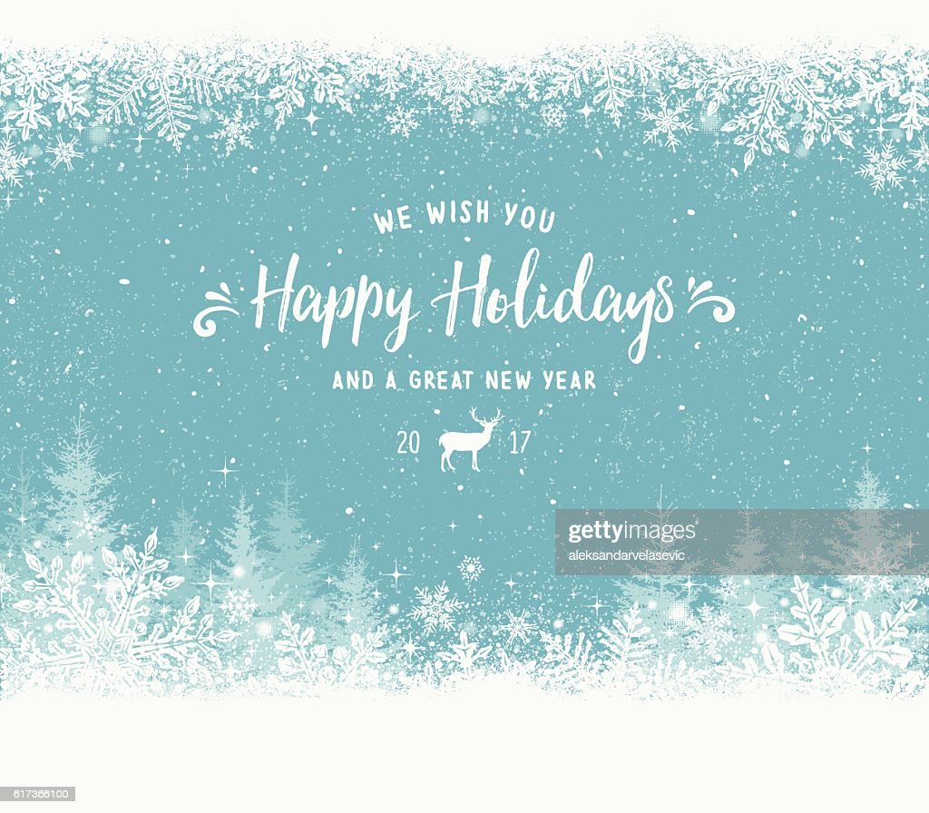 Holiday Background with Snowflake Frame, Christmas Trees and Reindeer : stock illustration