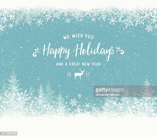 Holiday Background with Snowflake Frame, Christmas Trees and Reindeer