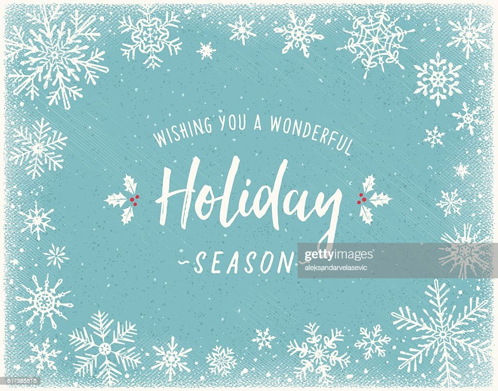 Holiday Background with Snowflake Frame : Vector Art