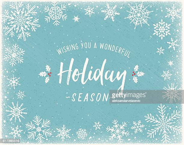 Holiday Background with Snowflake Frame