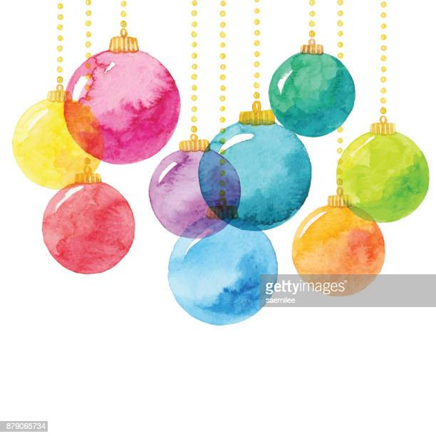 holiday background with watercolor christmas balls - painted image stock illustrations