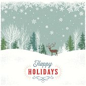 Holiday Background with Winter Forest Scene and Reindeer