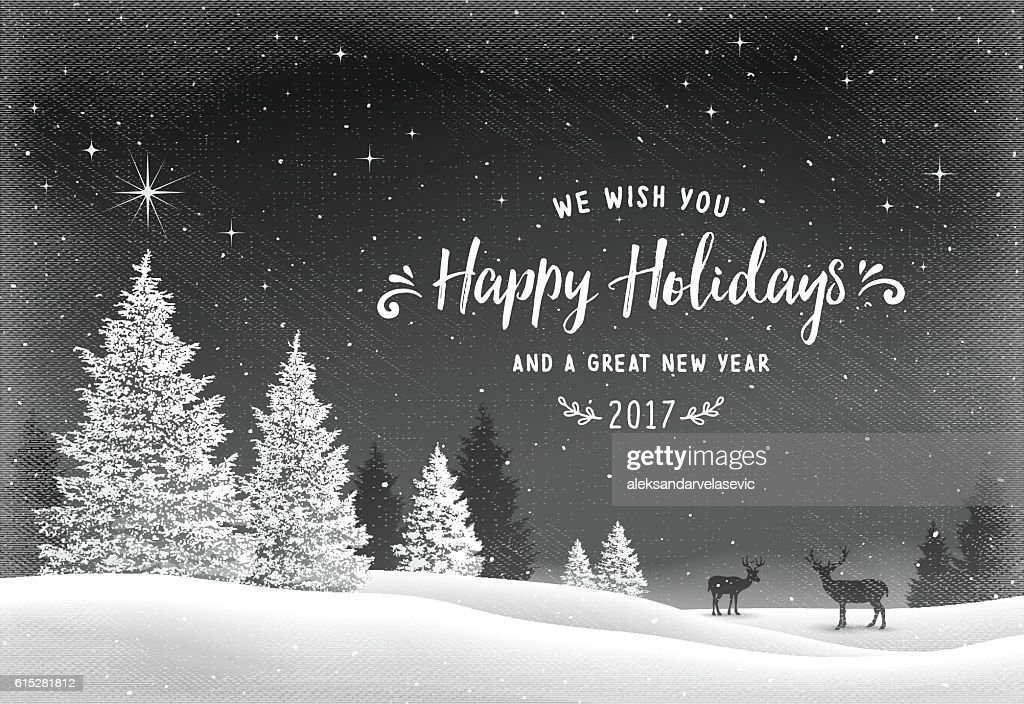 Holiday Background with Winter Landscape and Reindeer