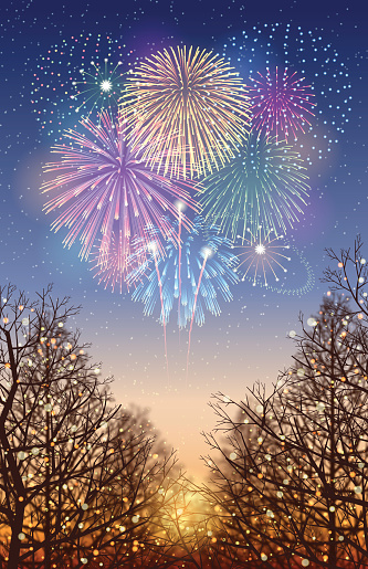 Holiday background[Illumination and Fireworks] - gettyimageskorea