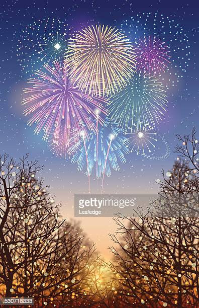 holiday background[illumination and fireworks] - carnival celebration event stock illustrations, clip art, cartoons, & icons