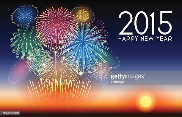 ilustraciones, imágenes clip art, dibujos animados e iconos de stock de fondo festiva [ ] año nuevo y los fuegos artificiales - 2015