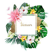 Holiday banner with tropical palm, monstera leaves, Hibiscuses, Aechmea and Orchids blooming flowers on the white background.