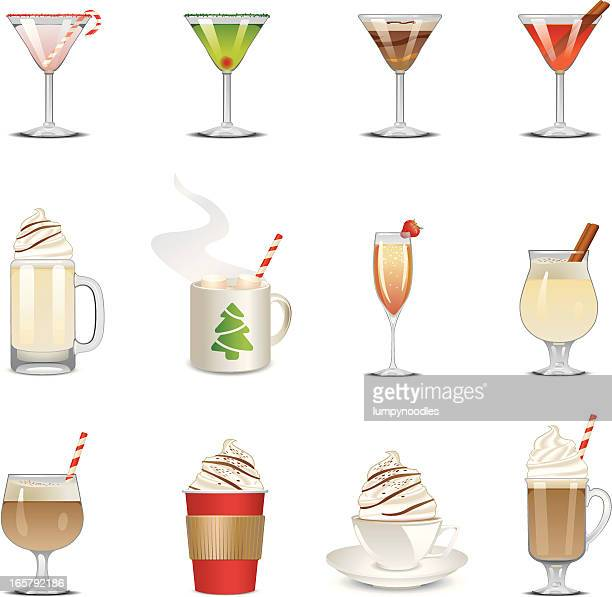 holiday beverage icons - candy cane stock illustrations