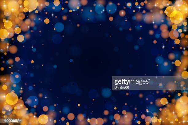 holiday bokeh empty frame on dark background. - celebration stock illustrations