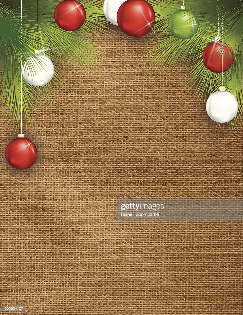 Holiday Burlap Background Template With Evergreens and ornaments
