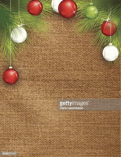 の黄麻布背景テンプレートに evergreens と調度品 - 荒い麻布点のイラスト素材/クリップアート素材/マンガ素材/アイコン素材