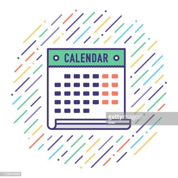 holiday calendar flat line icon illustration - routine stock illustrations