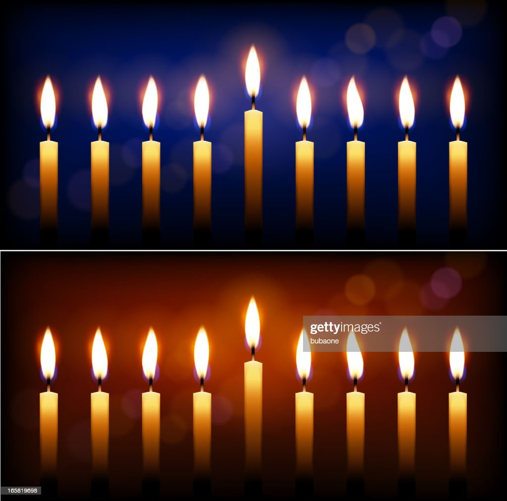 Holiday candles and candle light Hanukkah celebration. : Stock Illustration