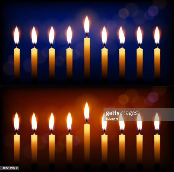 Holiday candles and candle light Hanukkah celebration.