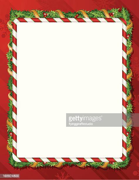 Holiday Candy Cane Holly Background Frame