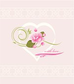 Holiday card to the Valentines day with pink flowers