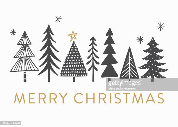 holiday card with christmas trees - illustration technique stock illustrations