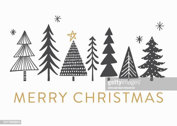 weihnachtskarte mit weihnachtsbäumen - illustrationstechnik stock-grafiken, -clipart, -cartoons und -symbole