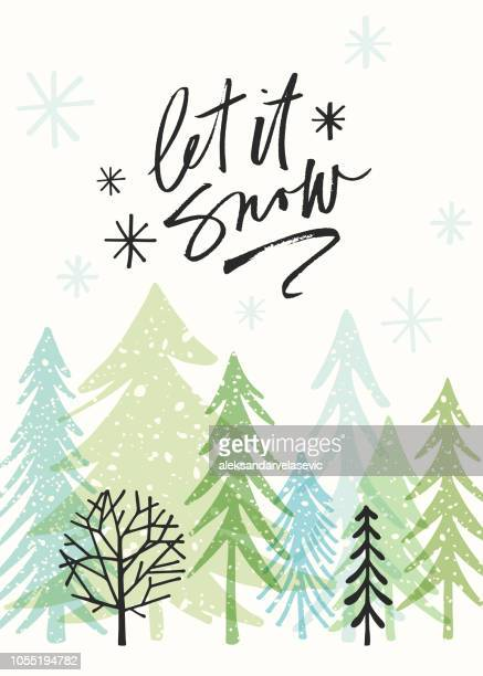 holiday card with christmas trees - winter stock illustrations