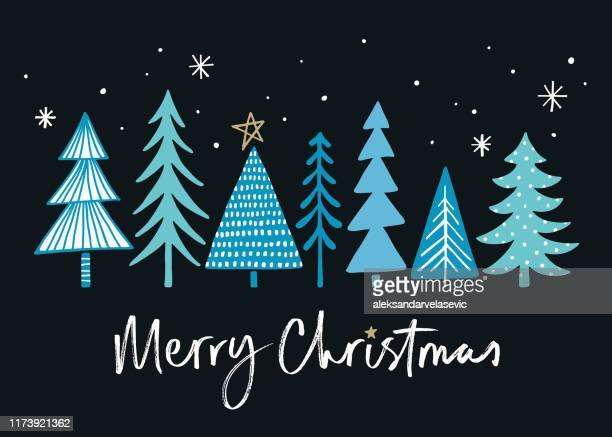 holiday card with christmas trees - monogram stock illustrations