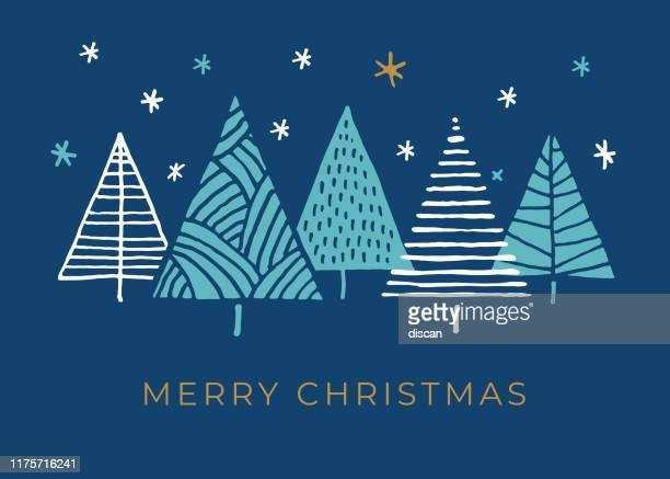 holiday card with christmas trees. - christmas stock illustrations