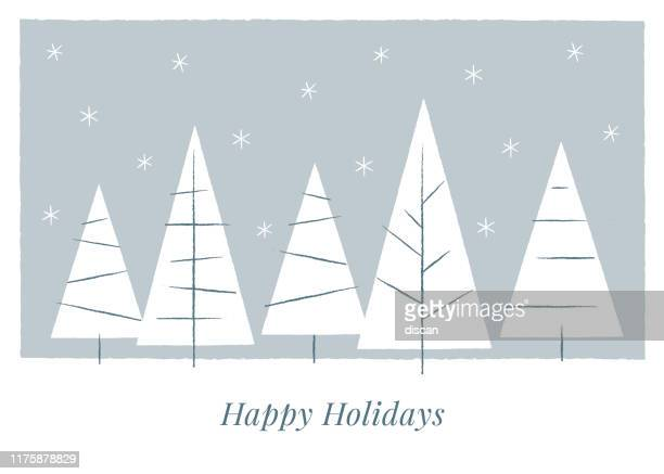 holiday card with christmas trees. - winter stock illustrations