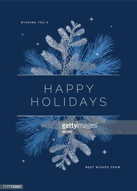 holiday card with evergreen silhouettes. - winter stock illustrations