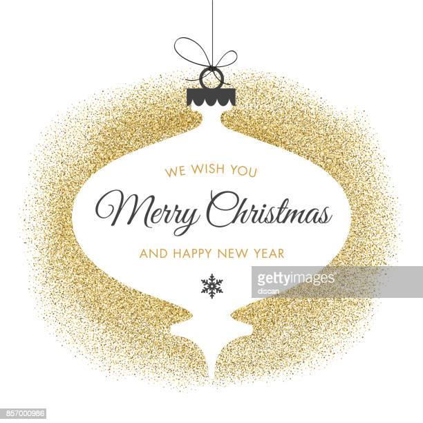 holiday card with golden glitter. - christmas ornament stock illustrations
