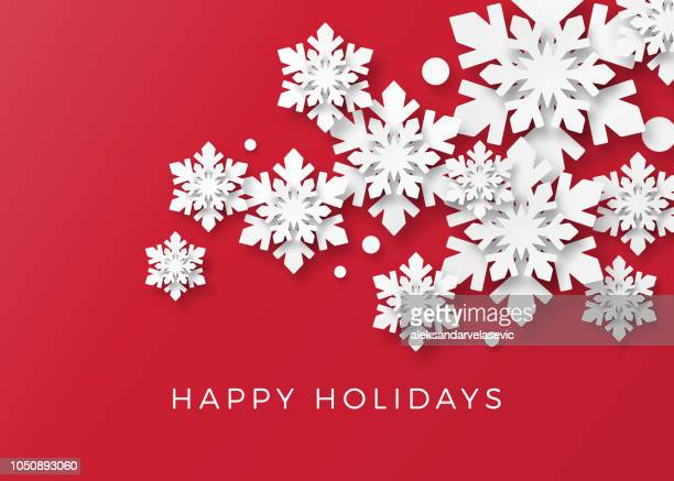 holiday card with paper snowflakes - snow stock illustrations