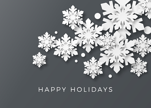 Holiday Card with Paper Snowflakes - gettyimageskorea
