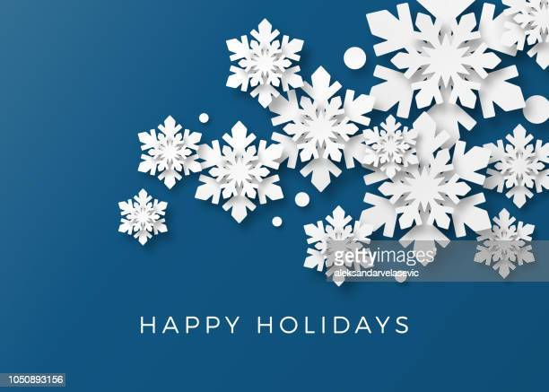 holiday card with paper snowflakes - winter stock illustrations