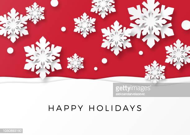 holiday card with paper snowflakes - christmas stock illustrations