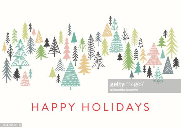 holiday card with sketched christmas trees - cute stock illustrations