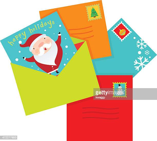 holiday cards - envelope stock illustrations, clip art, cartoons, & icons
