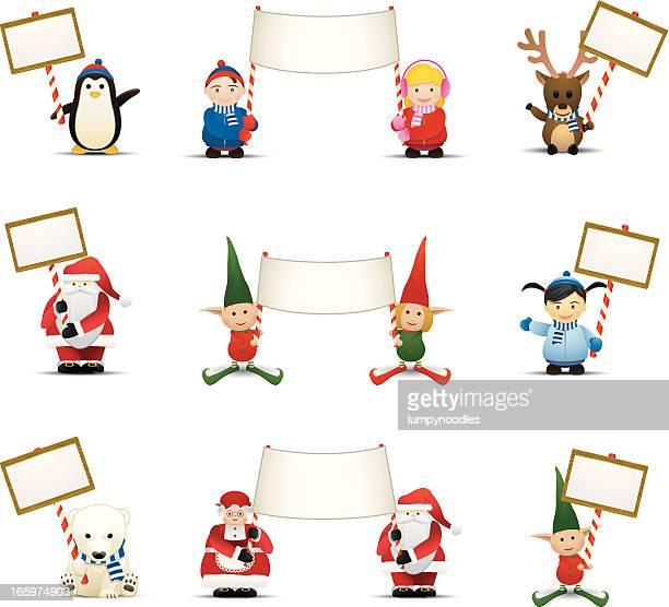 illustrazioni stock, clip art, cartoni animati e icone di tendenza di holiday caratteri con le indicazioni - mamma natale