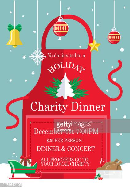 holiday charity dinner fundraiser poster design with red apron and christmas elements - jdawnink stock illustrations