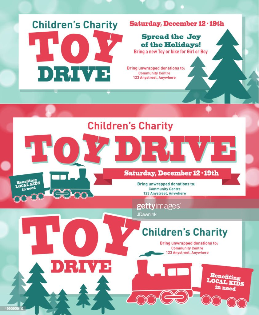 Holiday Charity Toy Drive fundraiser banners design retro bokeh design