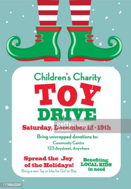 illustrations, cliparts, dessins animés et icônes de conception d'affiche de collecte de fonds de la charité de vacances de disque de jouet avec des chaussures d'elfe - lutin