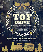 Holiday Charity Toy Drive fundraiser poster design wooden background