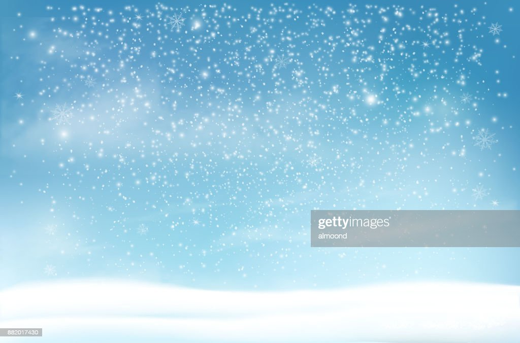 Holiday Christmas background with a snowflakes and landscape. Vector