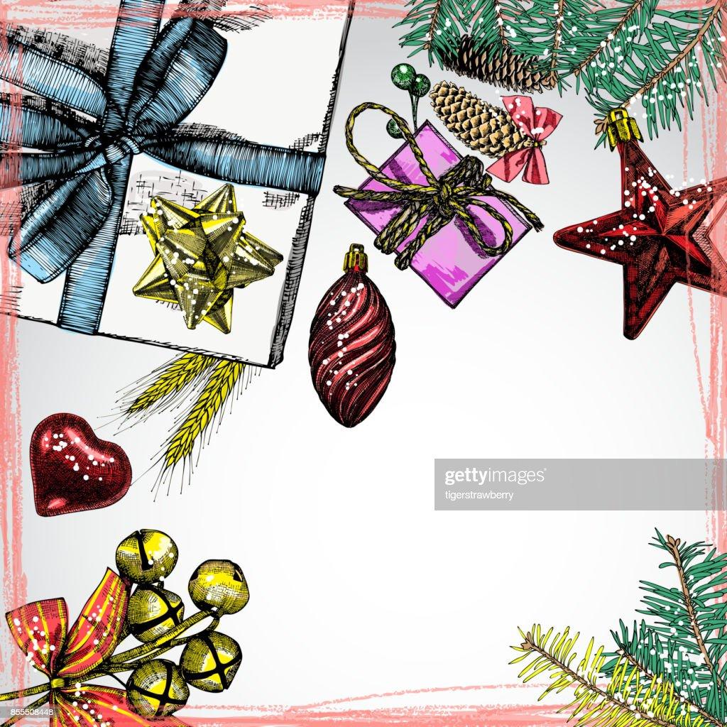 Urlaub Weihnachten Hintergrund Mit Geschenkboxen Und Spielzeug ...